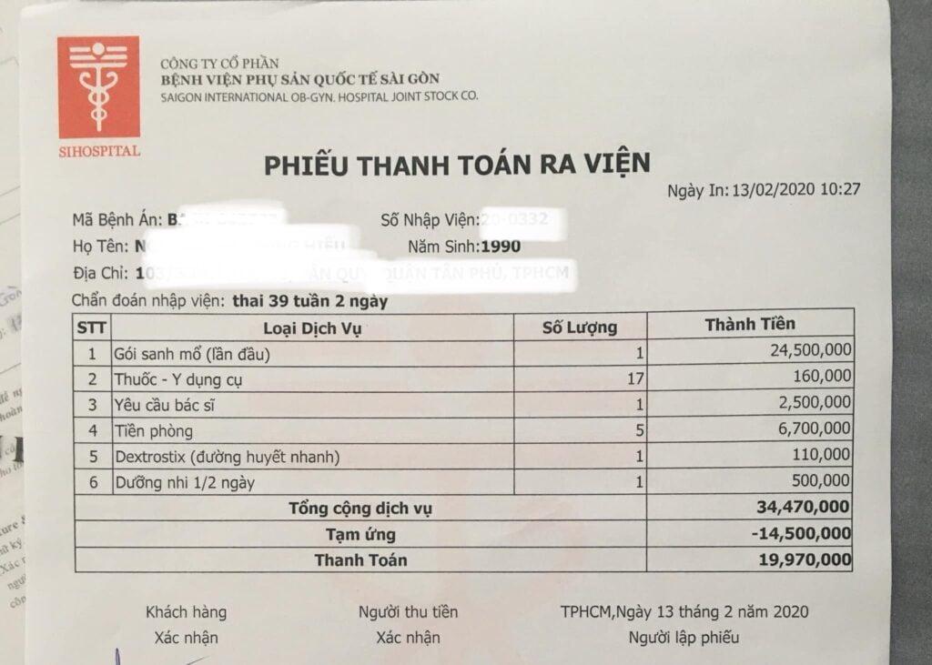 Chi phí đi đẻ bệnh viện phụ sản quốc tế Sài Gòn - SIH